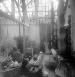 Photograph by Robert Doisneau after Brancusi's death showing the original studio.