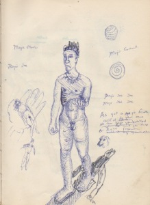 "Drawing from an early sketch book of the ""Walking Man"", 1979/80"