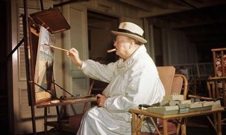Churchill-painting-at-the-Easel